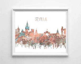 Sevilla, Sevilla printable, Sevilla skyline, Sevilla art, office art, printable decor, typography