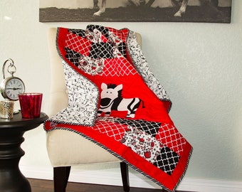 Zebra Quilt, Baby Quilt, Nursery Quilt, Black White and Red Quilt