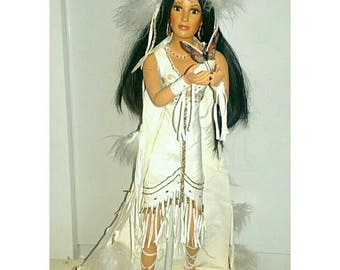 Vintage Collectible Porcelain Doll Native American Indian Bride (1257)