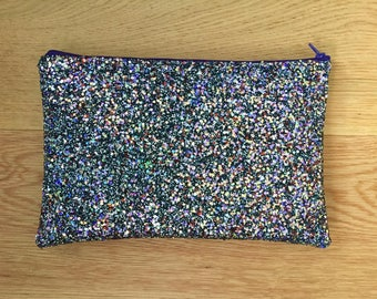 Black Glitter Clutch / Makeup Bag (Free UK P&P)