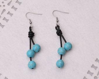 Blue Turquoise Stones Dangle Earrings for Women,Handmade Boho Colored Stones Earring,Genuine Leather Drop Earrings Steel Earring Hook