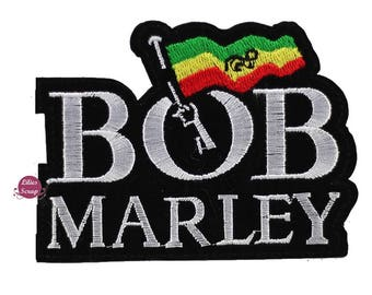 Embroidered back fusible Bob Marley reggae patch 10.5 x 8 cm