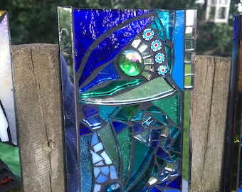 Stained Glass Mosaic Decorative Garden Wall Tile - Blue Abstract