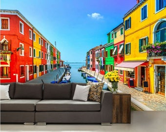 Venice wallpaper, Venice wall decal, Venice wall mural, Burano wallpaper, colorful house wallpaper, colorful city wall decal, colorful mural