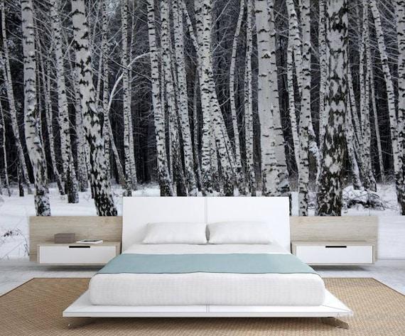 Birch forest wallpaper birch tree wall mural birch wall for Birch forest wall mural