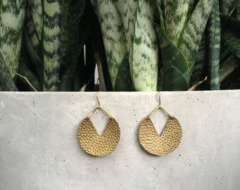 Brass Stamped Concave Circle Shaped Pounded Earrings Gold Hoop Bangin Jewelry
