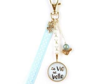Bag charm - cabochon - life is beautiful (blue)