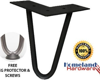 """6"""" Hairpin Legs 1/2"""" thick [LEG PROTECTORS + SCREWS included] (Set-of-4) [Satin Black]"""