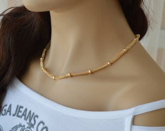 Gold Chain Necklace, Dainty gold bead, necklace everyday necklace Layering Necklace 24k gold plated jewelry.