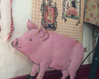 Vintage 1940s butchers sign. Pig. french vintage. Antique trade.