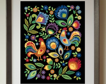 Folk Roosters Art Print