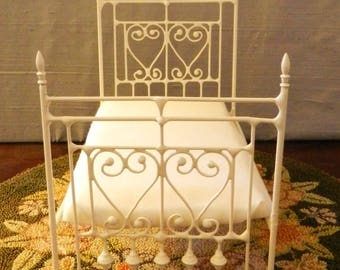 "NEW!! Our ""CHIC and CHEAP"" line is now live! Artisan Made Dollhouse Miniature Wrought Iron Look Bed ""Lillibet"" 1:12 Scale Twin and Full"