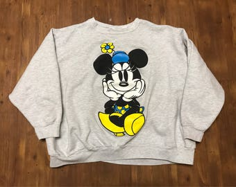 Vintage Minnie Mouse crewneck sweater double sided graphics 1990's Grey and yellow/blue Large Unisex Mint condition Disney cartoons