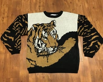 1980's All over print tiger sweater vintage crewneck by Liz Thomas II Jungle print safari graphics Mint condition