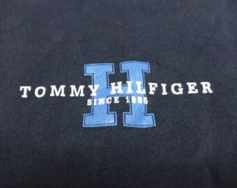 Tommy Hilfiger sweater spell out blue and white size large unisex