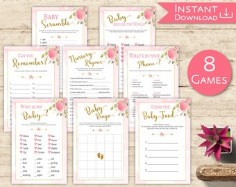 Baby Shower Games Set Kit Printable Floral Pink Gold Baby Shower Game Package Guess the Baby Food, Baby Bingo, Word Scramble, Who