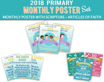 LDS Primary 2018 Monthly Theme Set, I am a child of God, Articles of Faith, LDS Primary 2018, Printable, Digital Print