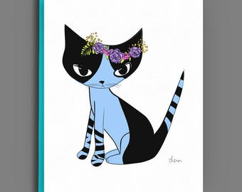 Cat Card - Blank Greeting Card Illustrated with Blue Cat Flower Crown - #FCCGC-B