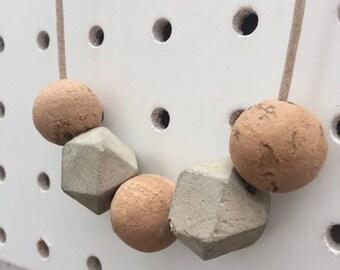 Cork & Concrete Necklace