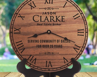 Best Realtor Gifts, Realtor Client Gifts, Realtor Closing Gift, Gifts From Realtor, Realtor Marketing, Personalized Laser Engraved Clock