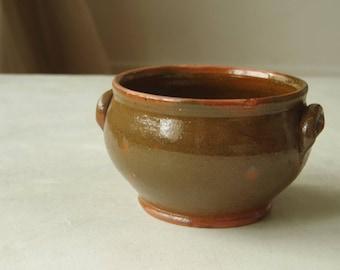 Vintage Stoneware Soup Bowl.  French Country Stoneware Crockery. Farmhouse pot. Rustic Earthenware.