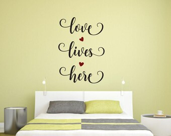 Love Lives Here Multi-Colored Home and Family Vinyl Wall Quote