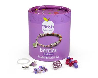 Berries Beaded Bracelet Pipkit Blackberry, Available in 3 colours, Contains all the Materials to Make 1 Bracelet