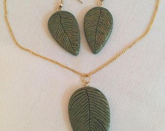 Leaf Pendant Necklace and Earring Set