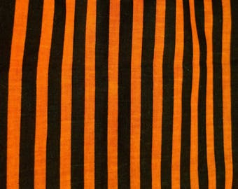 Halloween Cotton Fabric 44''-Stripes Goth Punk Rockabilly Psychobilly 2 Yards Skeletons Orange Black