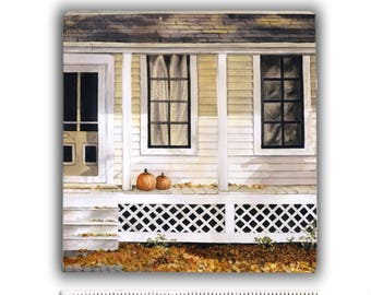 House with Pumpkins on Front Porch — Watercolor art print mounted on wood panel — ready to hang