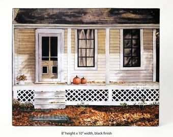 READY TO SHIP! House with Pumpkins on Front Porch — Watercolor art print mounted on wood panel — ready to hang