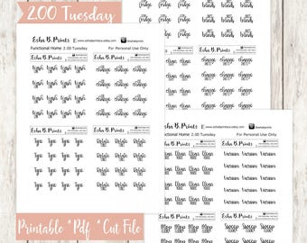 Two Dollar Tuesday Functional Home Printable Planner Stickers/For Use with Erin Condren/Cutfile/Fall Glam September Car Oil Change Sheets