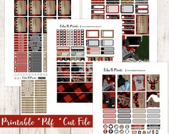 Cabin Life Printable Planner Stickers/Weekly Kit/For Use with Erin Condren/Cutfiles Winter December Glam Cabin Buffalo Plaid Cozy Christmas