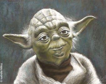 "Original portrait of Yoda Star Wars drawing pastel 45 x 35 cm 18 x 14 """