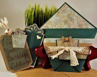 """Handmade Birthday gift card holder Wishes - """"4You"""" for that someone special, for her or him comes with a matching envelope - ORIGAMI"""
