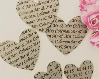 Easter Sale Personalised wedding confetti/ Table confetti 200 pieces. Bride and Groom. Wedding Day. Wedding Date