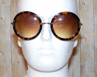 Vintage 70s style oversize graduated round sunglasses tortoiseshell/gold (TS10)