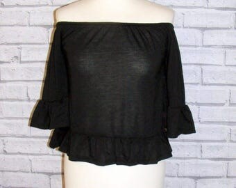 Size 8 vintage 70s style on/off shoulder top fluted 3/4 sleeve black jersey BNWT