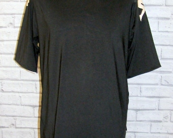Size M vintage 90s Kappa t shirt top s/slv standup collar black polyester (HR02)