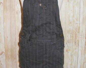 Size 8 vintage 90s micro mini dungaree pinafore dress dark brown denim (HJ33)