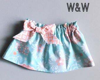 Turquoise Floral Skirt, Turquoise and Coral Skirt, Turquoise skirt, Turquoise and Orange skirt, Newborn Toddler and Girl's skirts