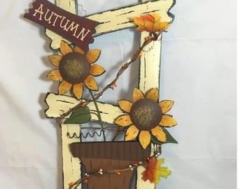 Wooden Ladder Sign Wall Decor, Sunflower Wood Wall Art, Fall Decor, Autumn Thanksgiving