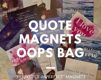 5 x Grab Bag Items, Quote Magnets Seconds Sale, Mindfulness Gift, MentalHealth Support, Eckhart Tolle, Oops Bag