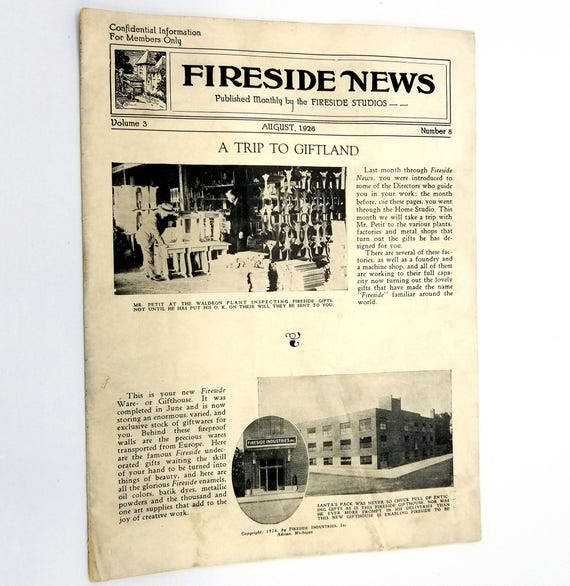 Fireside News Magazine Vol 3 No 8 August 1926 Adrian, MI Fireside Studios / Industries At Home Sales Promotional Materials Vtg Antique