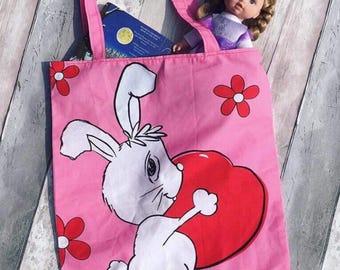 Childs book bag, childs toy bag, childs pj bag, rabbit bag, bunny bag, kids bag, childs bag, bunny fabric, flower bag, love heart bag,
