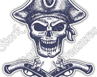 Pirate Skull Crossbones Jolly Roger Car Bumper Vinyl Sticker Decal