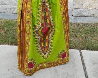 Green Danshiki Maxi Skirt; African Maxi Skirt; Ankara Maxi Skirt; African Clothing;