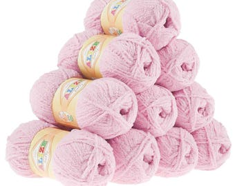 10 x 50 g soft yarn fluffy wool SOFTY by ALIZE No. 98 pink