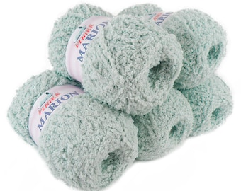 5 x 100 g soft Knitting yarn MARION with shimmering highlights, blue-grey #101