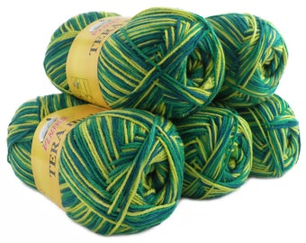 5 x 100 g yarn TERA MULTI, #806 green-yellow petrol